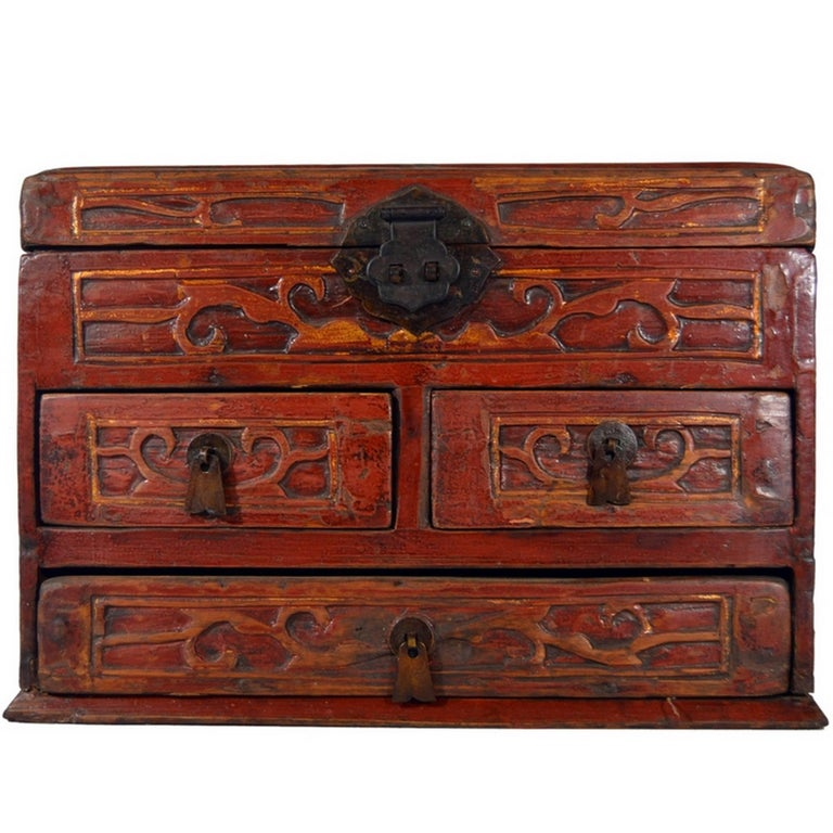 Vintage Carved And Lacquered Jewelry Box With Drawers From China 1950s For