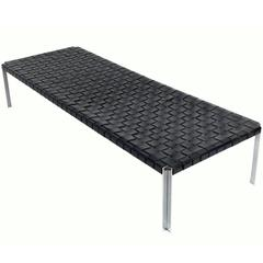 Large-Scale Woven Leather and Chrome Daybed Bench by Erwine & Estelle Laverne