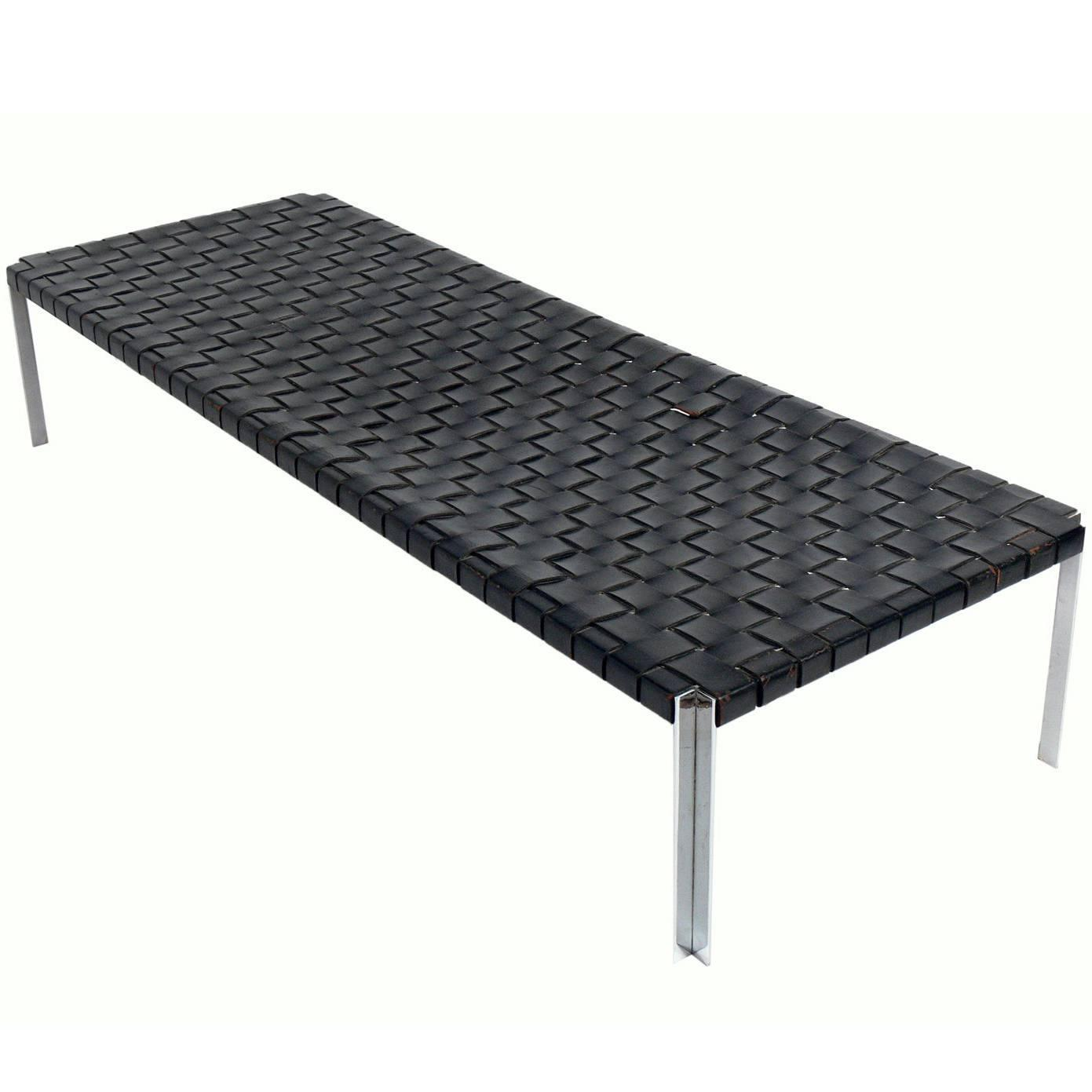 Jens risom floating bench for sale at 1stdibs - Large Scale Woven Leather And Chrome Daybed Bench By Erwine Estelle Laverne