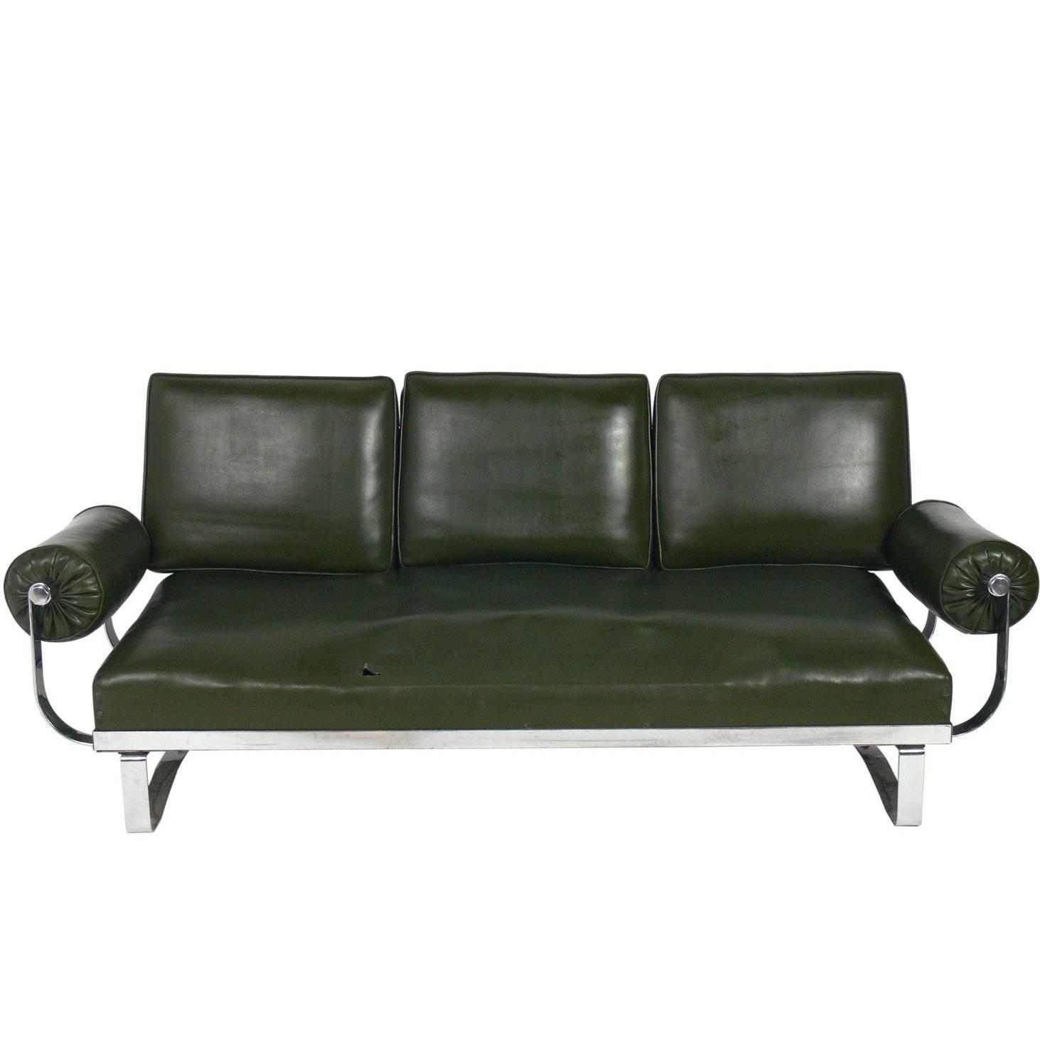 rare art deco chrome strap sofa by mckay for sale at 1stdibs. Black Bedroom Furniture Sets. Home Design Ideas