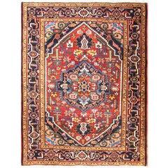 """Antique Persian Heriz Rug, 4'10"""" x 6'3"""""""