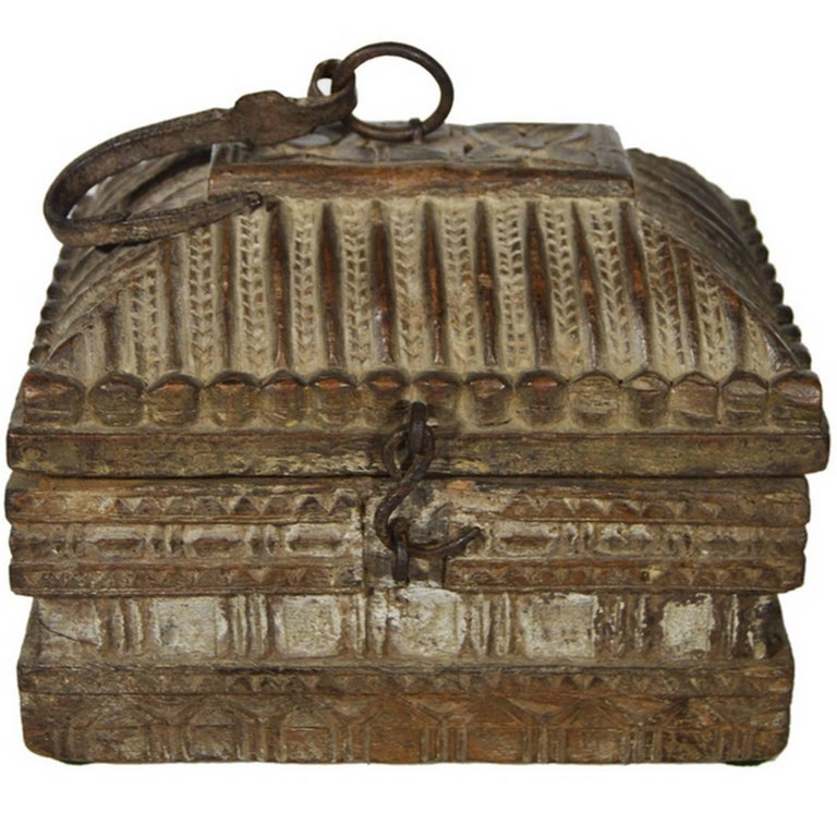 Antique Indian Handmade Carved and Detailed Wooden Money Box, 19th Century