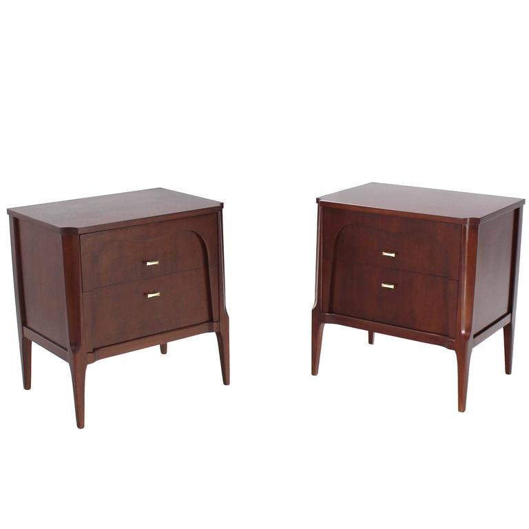 Pair of Sculptural Two Drawers Nightstands End Tables