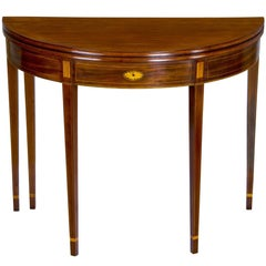 Inlaid Mahogany Hepplewhite Demi-Lune Card Table with Five Legs, Newport, RI
