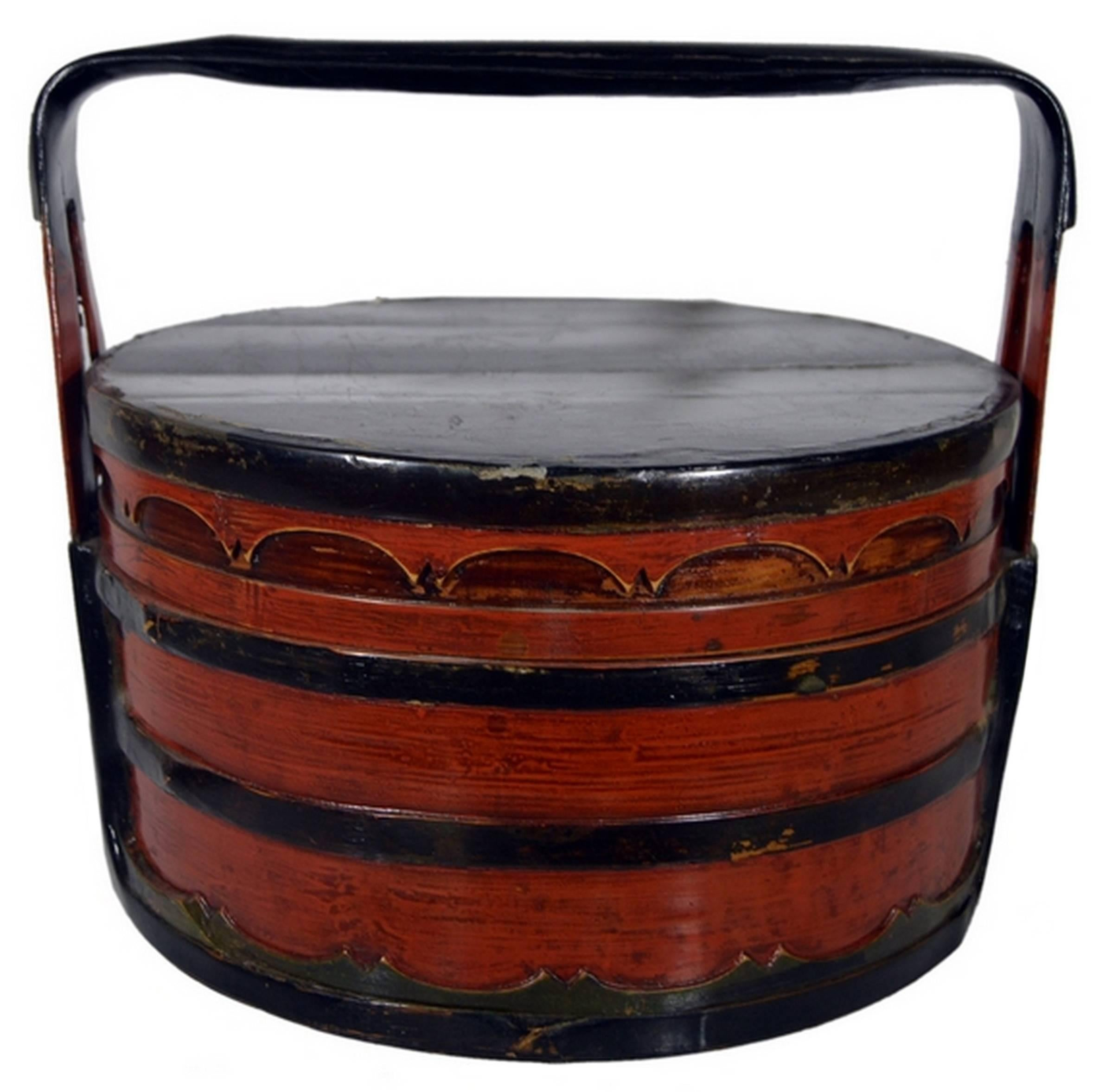 19th Century Chinese Two-Colored Bamboo and Wood Tiered Lunch Basket