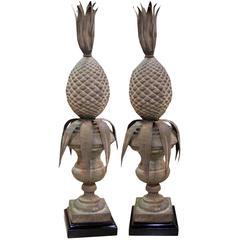 Pair of 19th Century Italian Patinated Brass Pineapple Finials
