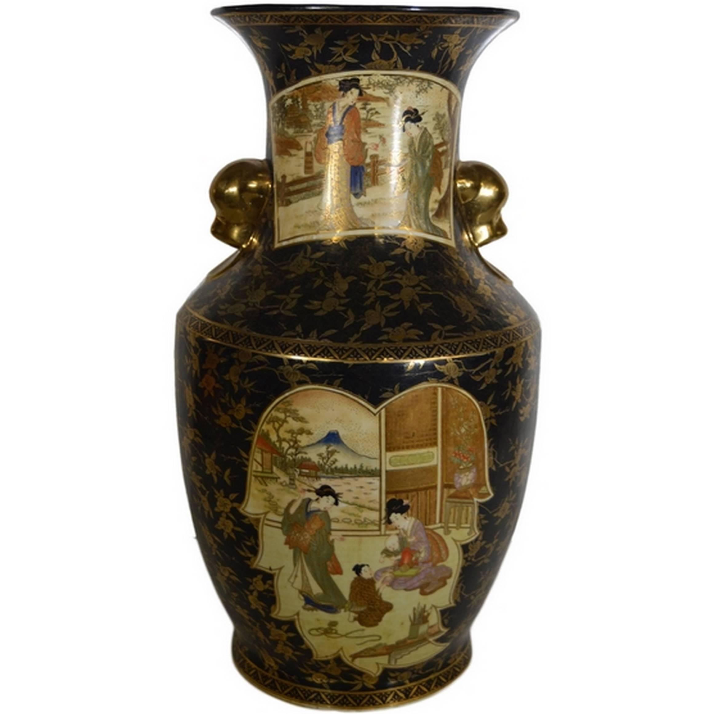 Vintage Hand-Painted Porcelain Vase with Gilded Accents from 20th Century, China