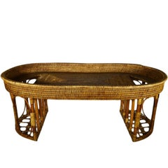 Vintage Burmese Handwoven Rattan Breakfast Coffee Serving Table from the 1970s