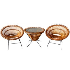 Pair of Rattan Scoop Chairs and Side Table in the Style of Franco Albini