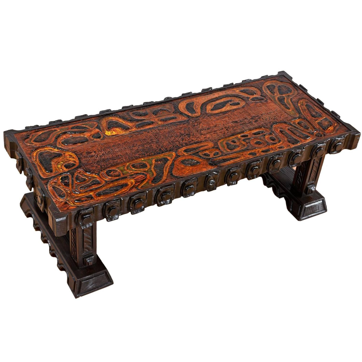Lovely Polynesian Inspired Carved Witco Tiki Coffee Table For Sale At 1stdibs