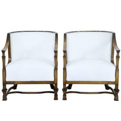 Pair of Swedish Art Deco Birch Grace Chairs By Carl Malmsten