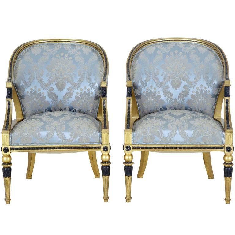 Pair of 19th Century Swedish Gothenburg Gilt Armchairs For Sale