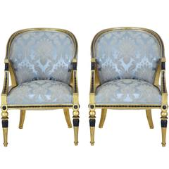 Pair of 19th Century Swedish Gothenburg Gilt Armchairs
