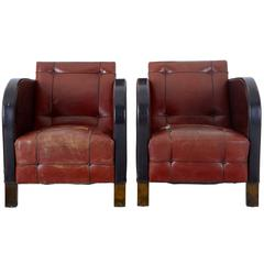 Pair of Art Deco Leather Club Armchairs