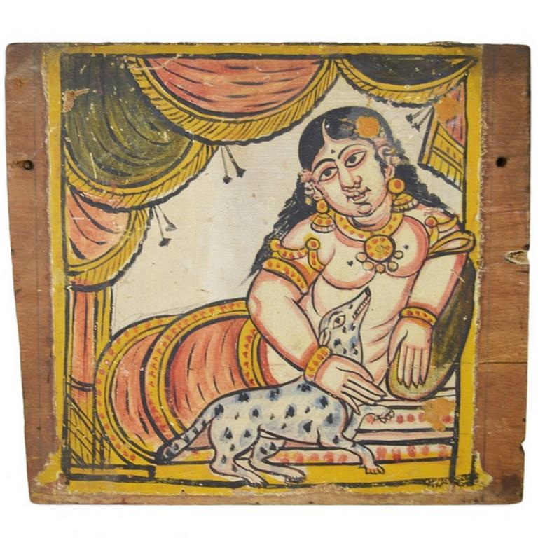Antique Hand-Painted Indian Wall Decor For Sale