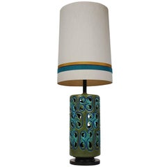 Monumental Mid-Century Danish or Italian Modern Ceramic Pottery Table Lamp