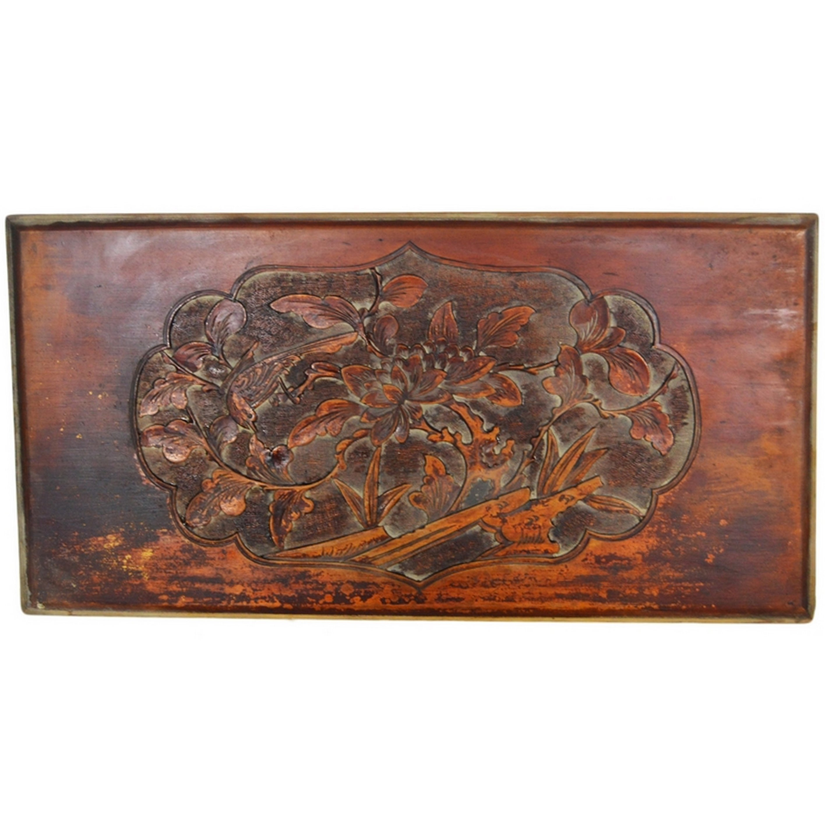 Chinese 19th Century Hand-Carved Rosewood Lacquered Bird and Foliage Wall Plaque