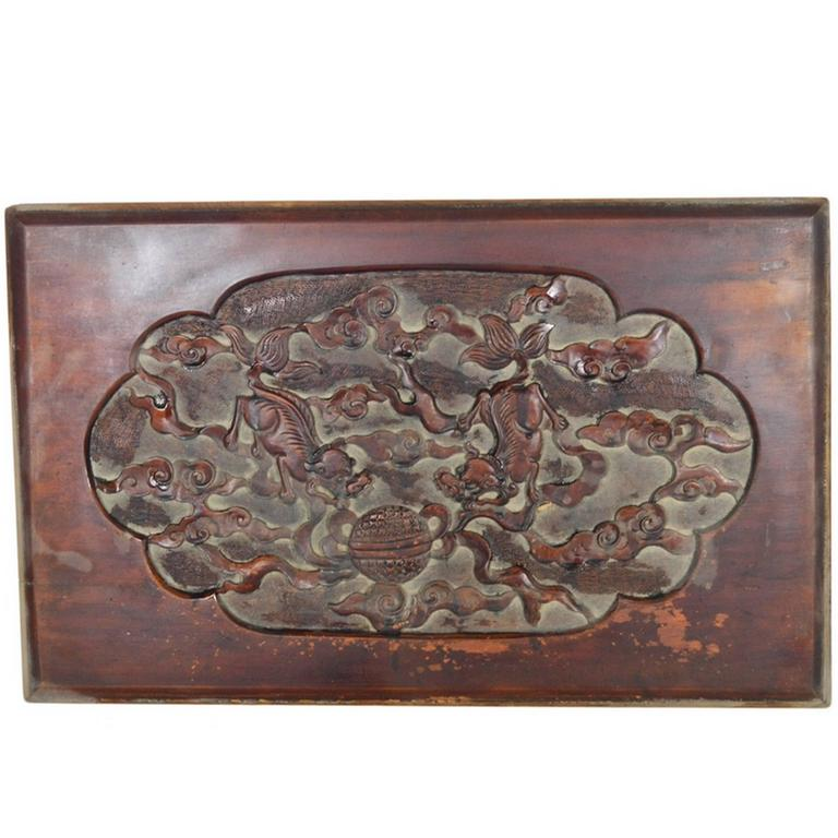 Antique Chinese Hand Carved Lacquered Rosewood Wall Plaque from the 19th Century