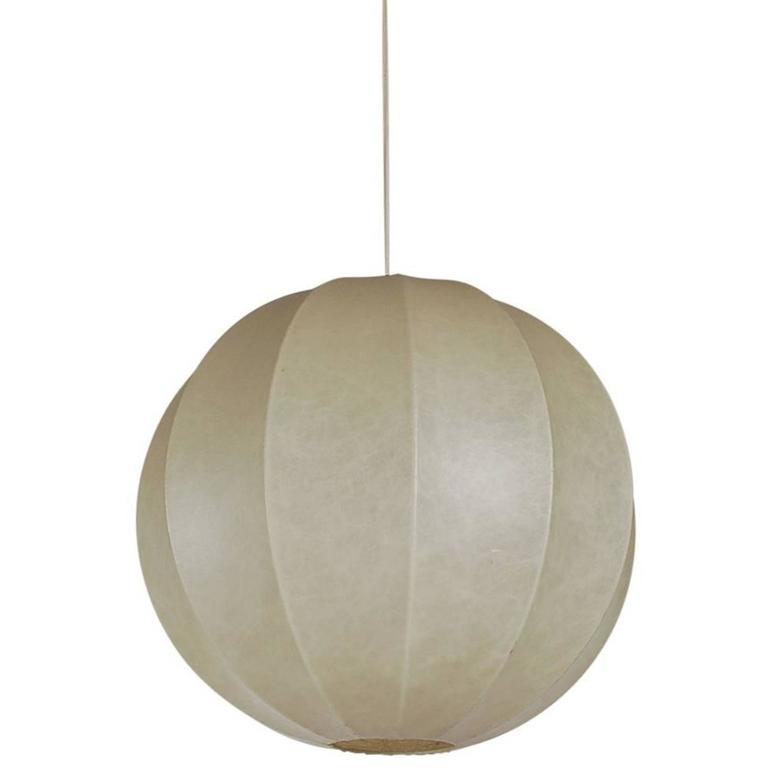 Mid Century Italian Modern Large Cocoon Bubble Pendant Lamp By Castiglioni For Sale