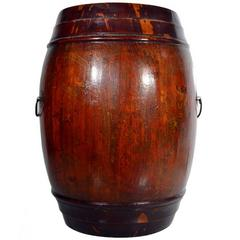 Antique Varnished Painted Wood Grain Barrel Basket from 19th Century China