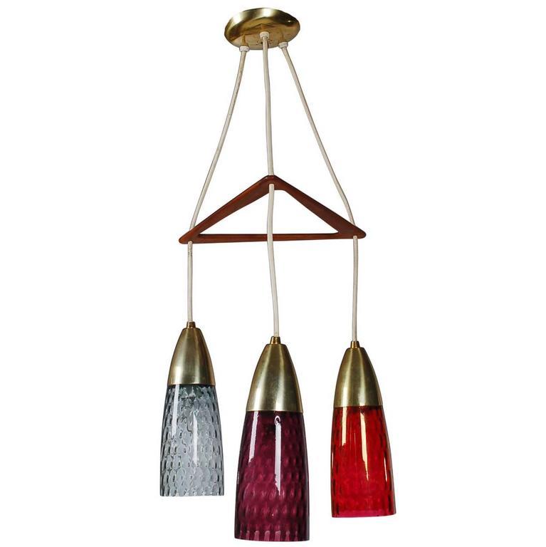 Mid-Century Danish Modern Three Art Glass Pendant Teak and Brass Chandelier Lamp