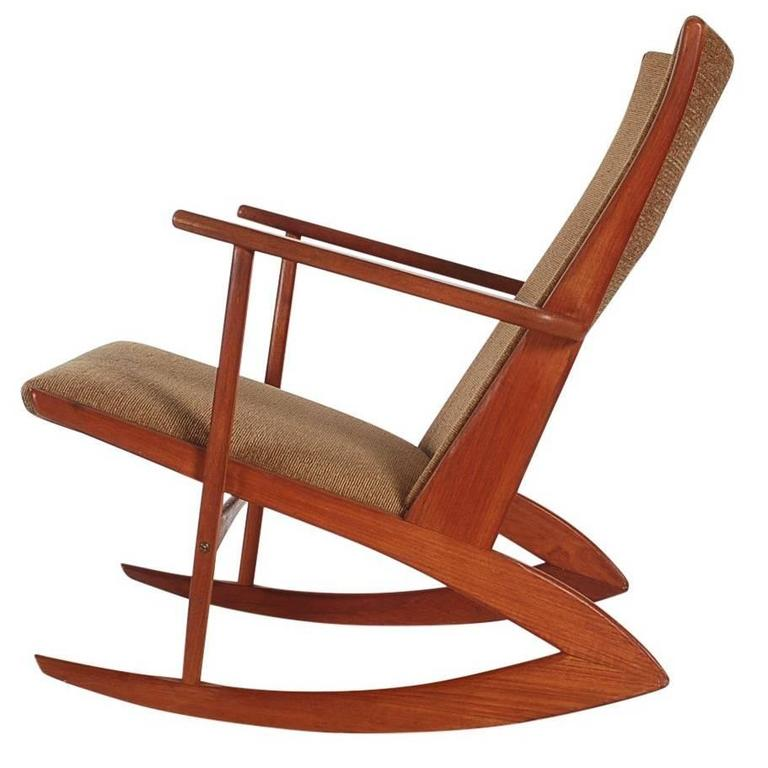 georg jensen boomerang kubus rocking chair in teak danish mid