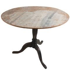 18th Century Swedish Rococo Tilt-Top Table in Original Paint