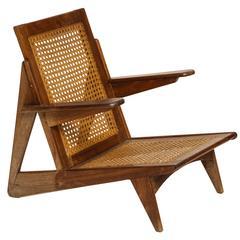 Cane Teak Lounge Chair 1950 France Brazil Style Tenreiro, Jeanneret Mid-Century
