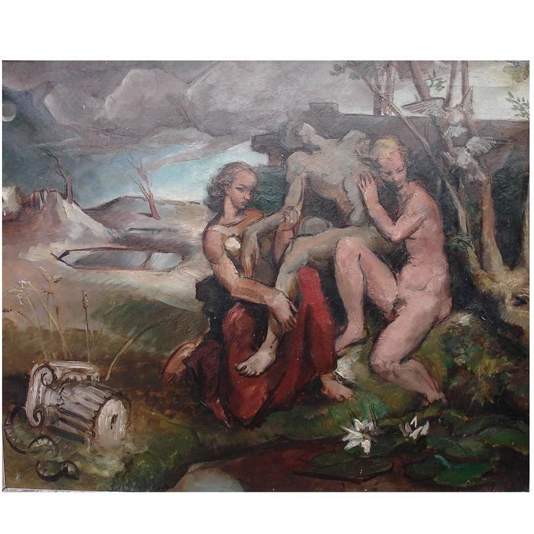 1915-1990 John Rogers Cox, American Allegorical Scene painting, oil on canvas