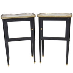 Pair of Jansen Style Ebonized Marble-Top Stands