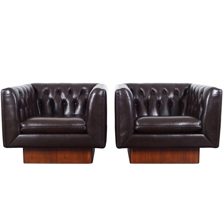 Vintage Tufted Leather Lounge Chairs by Milo Baughman For Sale