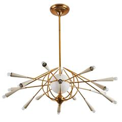 Fifteen Arm Italian Chandelier in the Style of Stilnovo