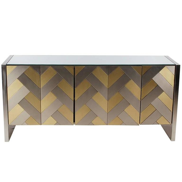 Hollywood Regency Brass and Brushed Steel Chevron Credenza or Dresser by Ello 1