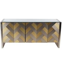 Hollywood Regency Brass and Brushed Steel Chevron Credenza or Dresser by Ello
