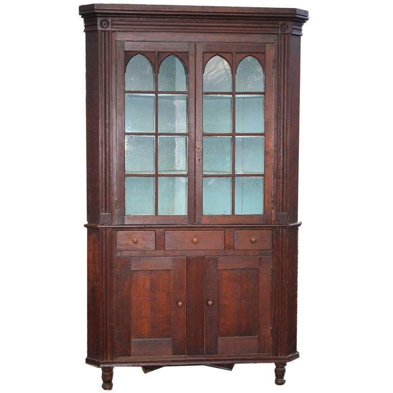 American Federal Period Cherrywood Corner Cupboard For