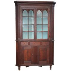 American Federal Period Cherrywood Corner Cupboard
