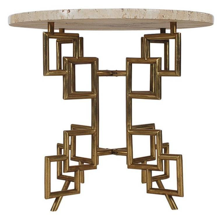 Hollywood Regency Italian Modern Brass Travertine Marble Table after Mastercraft For Sale