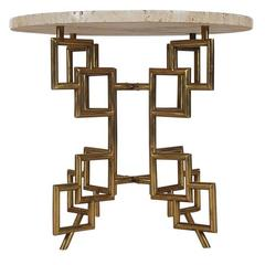Hollywood Regency Italian Modern Brass Travertine Marble Table after Mastercraft