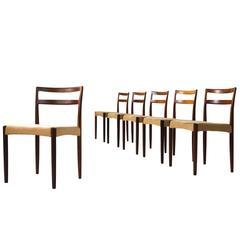 Harry Ostergaard Set of Six Rosewood Dining Chairs