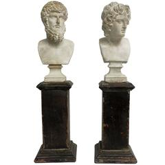 Pair of Academic Cast of Plaster Busts Depicting Lucius Verus and Alexander