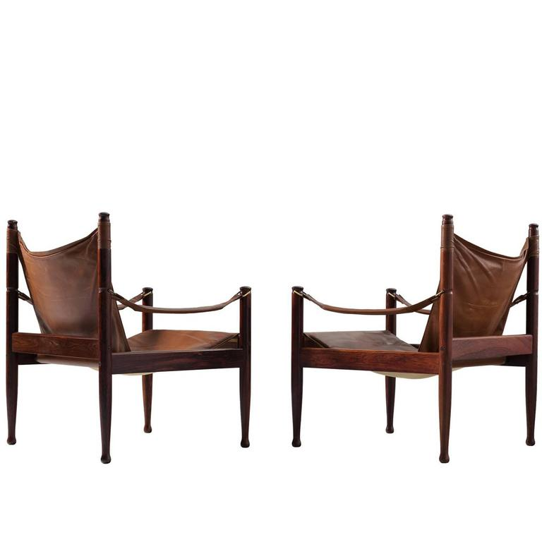 Erik Wørts Set of Two Safari Lounge Chairs in Rosewood and Brown Leather 1