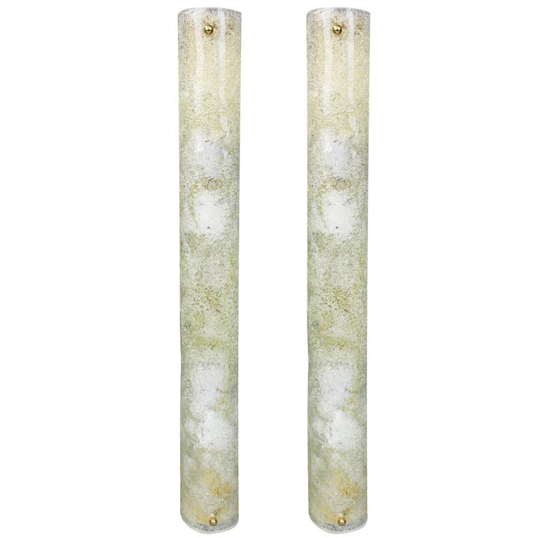Pair of Ice Glass Wall Sconces by Hillebrand, Germany, 1970s