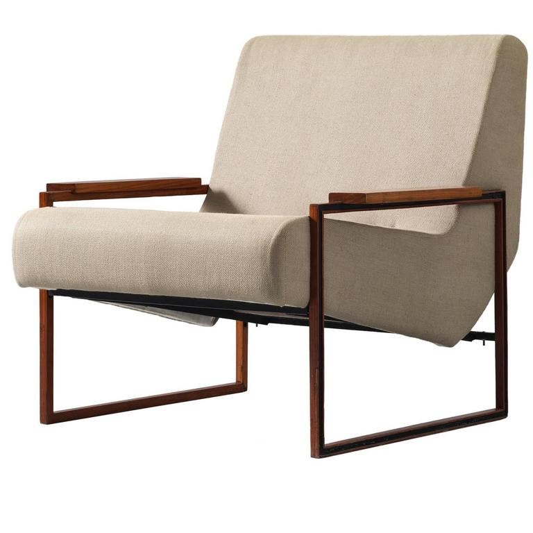 Percival Lafer Lounge Chair in Mahogany and Fabric Upholstery