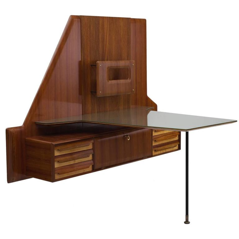 Gio Ponti Rare Wall Mounted Desk with Glass Top