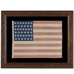 39 Tilted Stars on an Antique American Flag with Royal Blue Canton