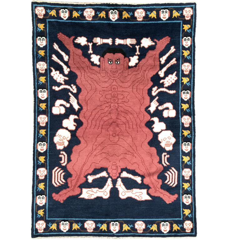 Chinese Carpets And Rugs: Vintage Tibetan Pictorial Flayed Man Rug For Sale At 1stdibs