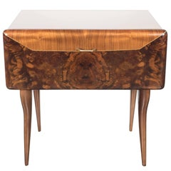 Mid-Century Modernist Italian Nightstand/End Table in Exotic Bookmatched Walnut