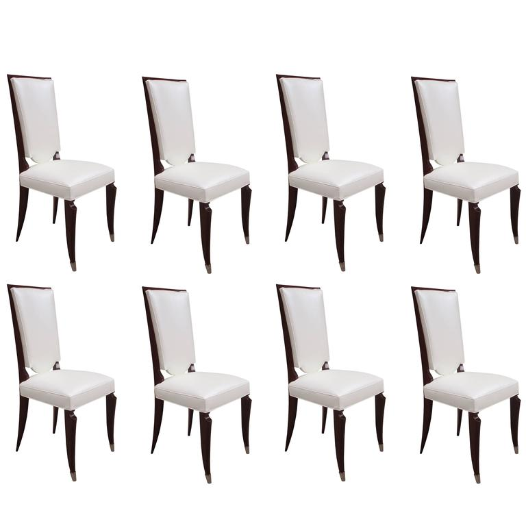Set of Eight Art Deco Tall Back Dining Chairs