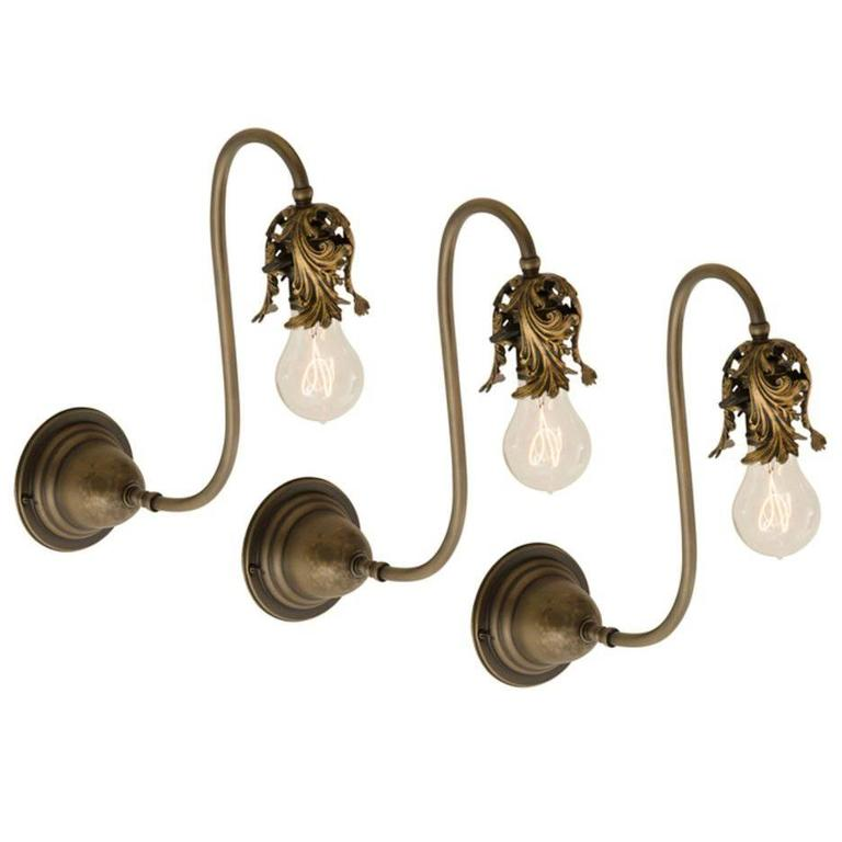 Set of Three Very Early Electric Wall Sconces with Acanthus Motif, circa 1900 at 1stdibs