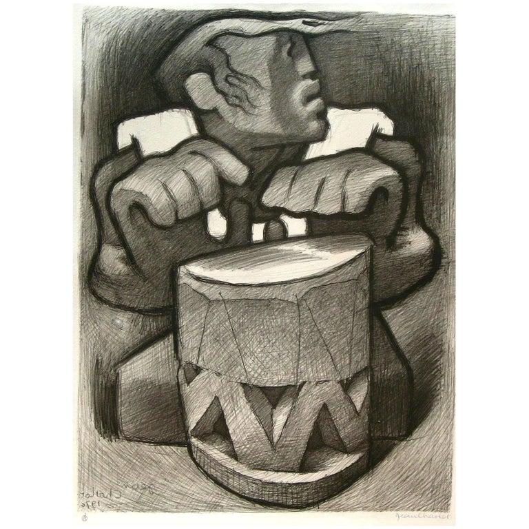 "Jean Charlot Original Pencil Signed Lithograph, 1970 - ""Hawaiian Drummer"" For Sale"